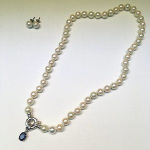 Nikken faux pearl magnetic necklace with silver sa